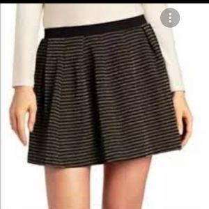 FRENCH CONNECTION Lara Lurex Gold Stripe Blk skirt